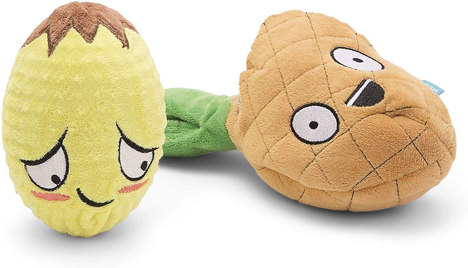 two pineapple plush toys with funny faces