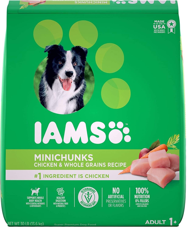 the green bag of Iams dog food