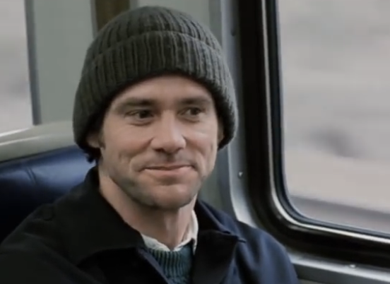 Jim Carrey on a bus wearing a beanie in Eternal Sunshine of the Spotless Mind