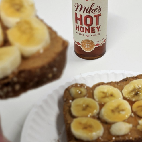 The honey drizzled on bananas