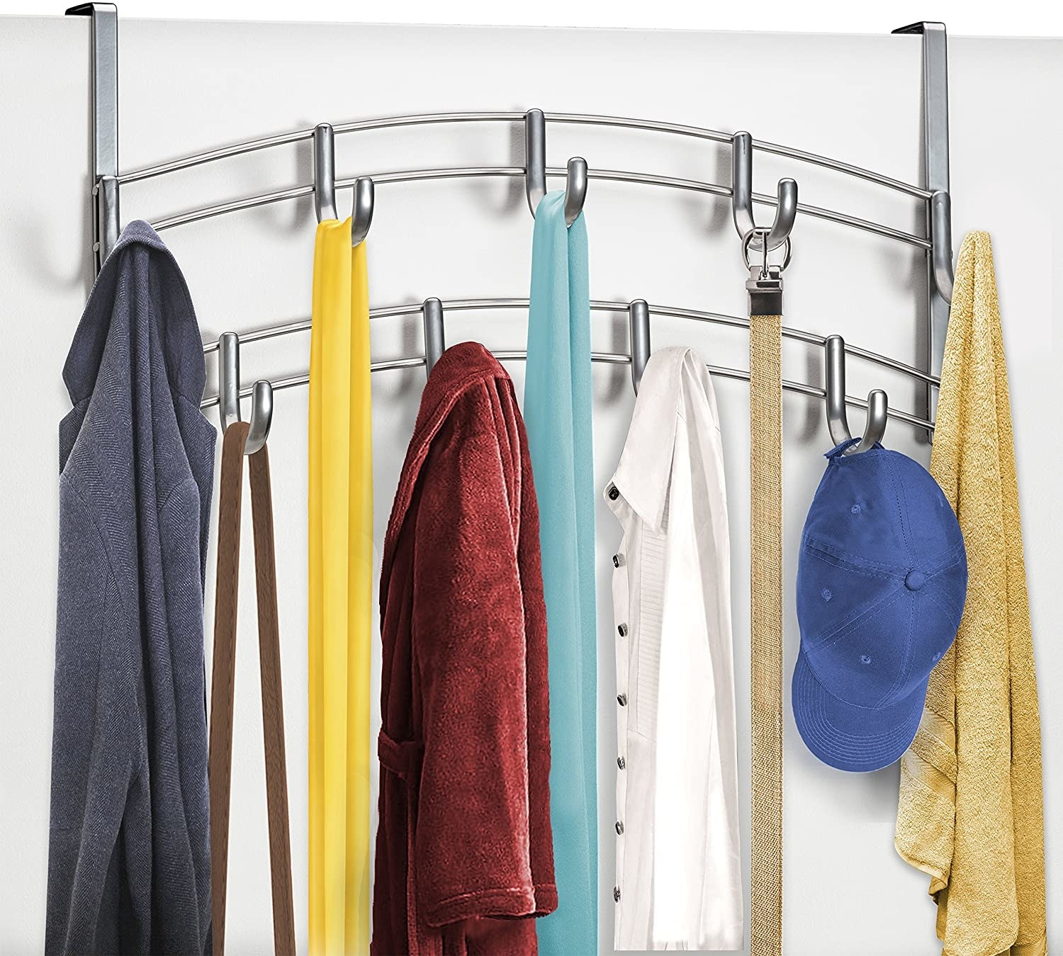 A large over-the-door rack with two tiers of hook Bags, scarves, and hats are hanging from the hooks