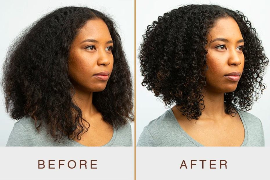 Before photo of model with flat, frizzy curls and after showing the products gave the curls more definition and reduced frizz