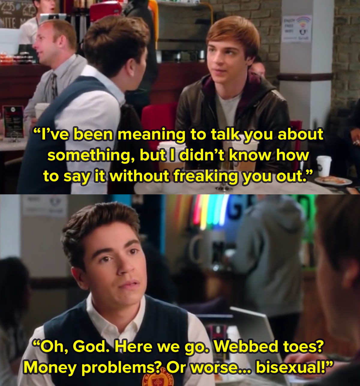 Kenny from The Real O Neals, who is played by Noah Galvin, sits with his boyfriend in a cafe as his boyfriend I didn't know how to tell you this. In another image, Kenny thinks to himself here we go, money problems, webbed toes, or worse bisexual