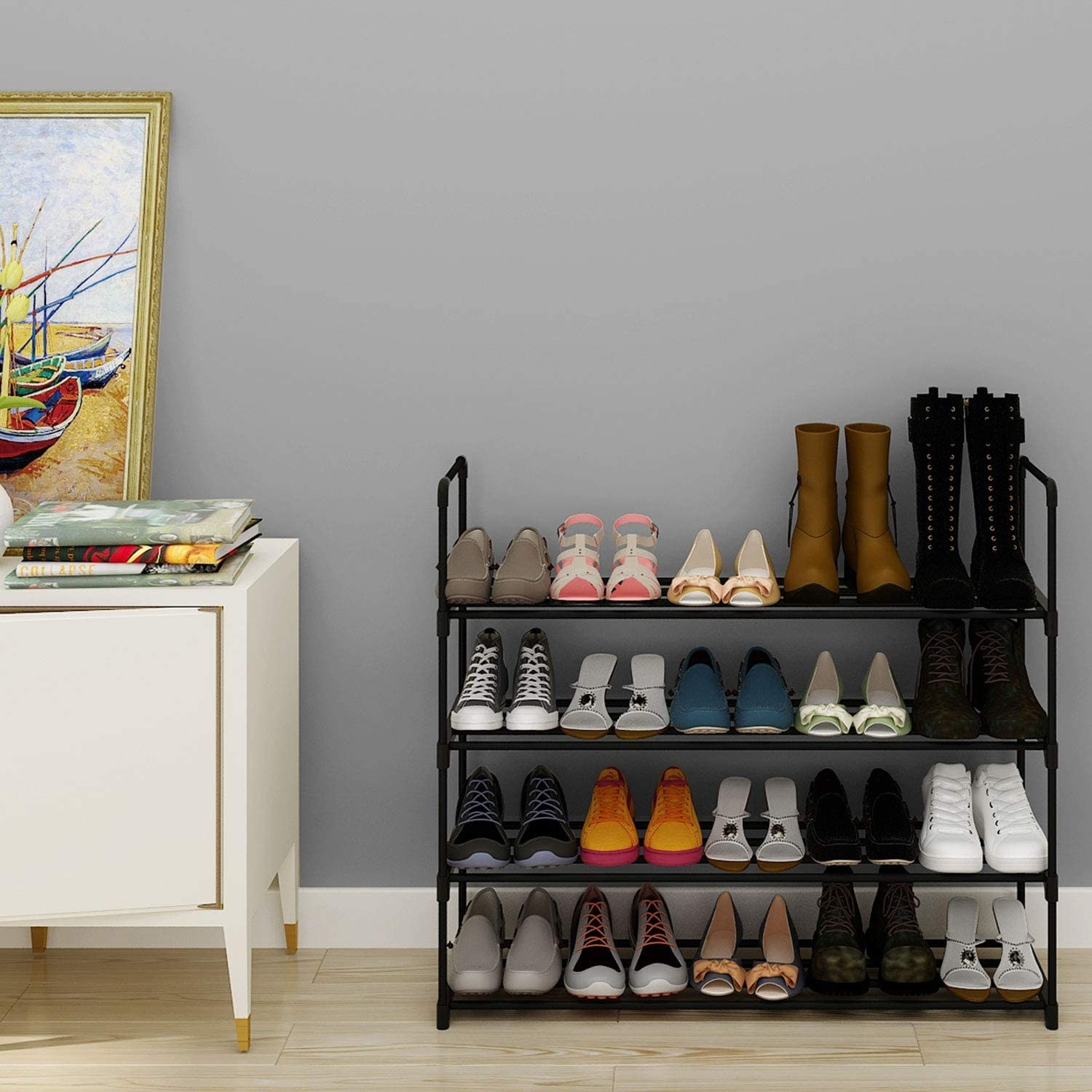 A shoe rack with four tiers and filled with shoes