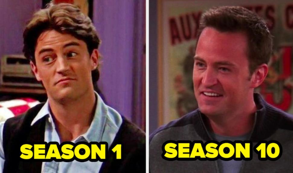 Chandler in Season 1 next to Chandler in Season 10
