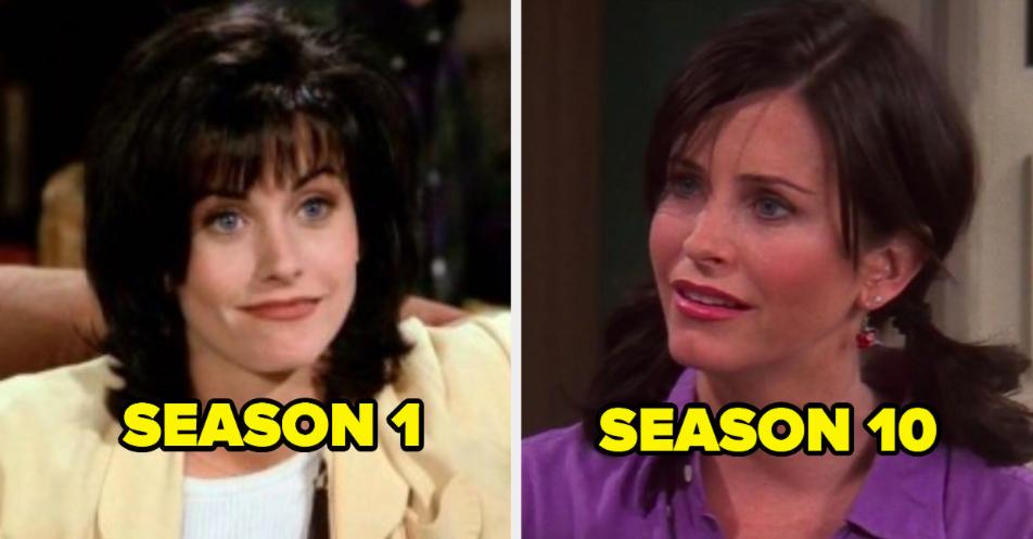 Monica in Season 1 next to Monica in Season 10