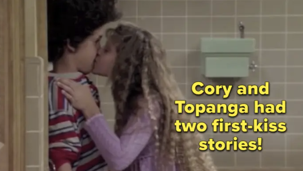 Cory and Topanga having their first kiss at the lockers