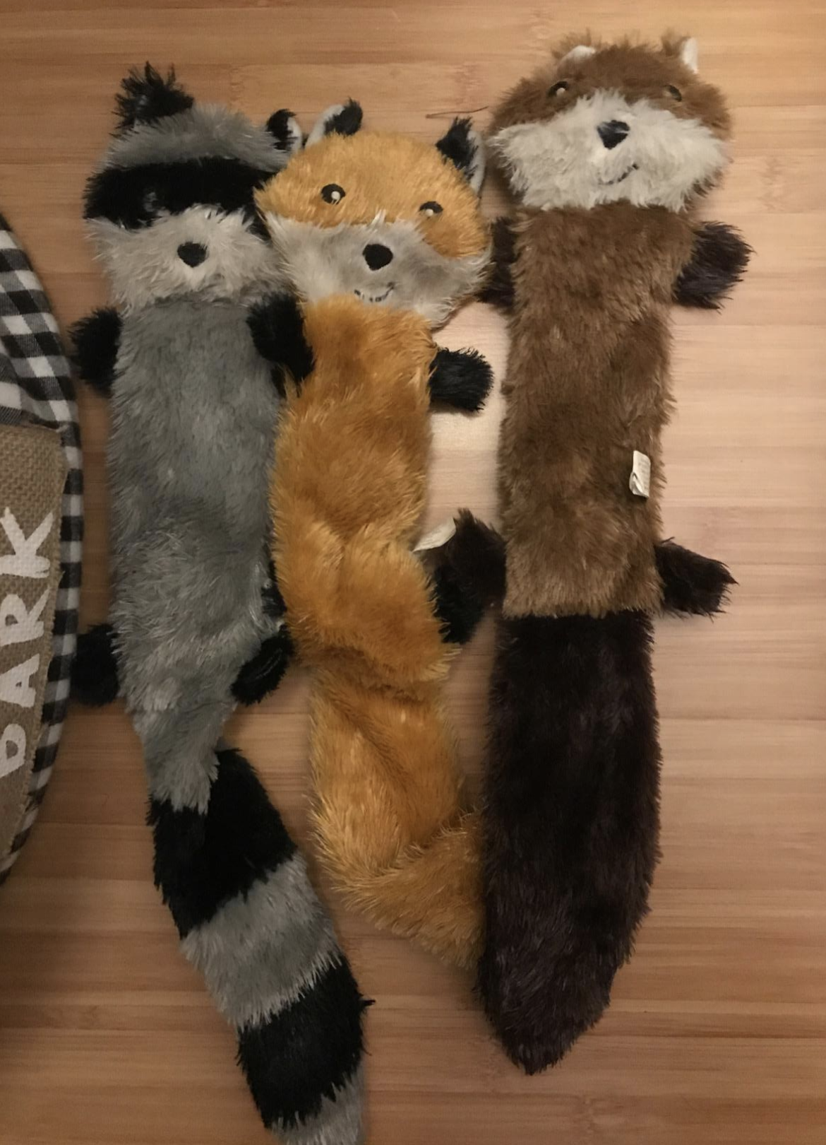 reviewer photo of plush raccoon, fox, and squirrel