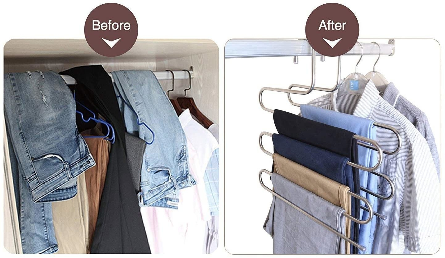 A before image of a multiple pairs of jeans hanging over a clutter clothing rod and an after image of multiple pairs of pants hanging from an S-shaped hanger
