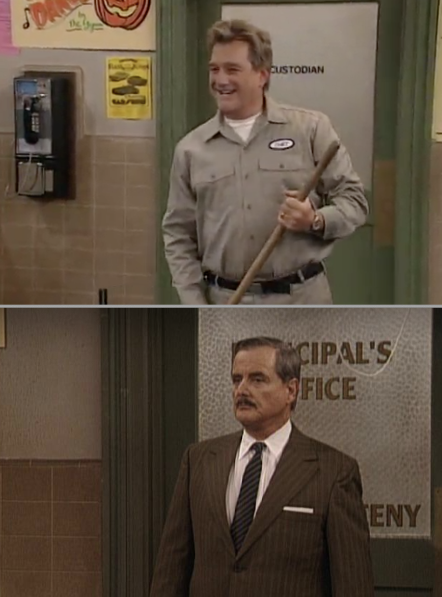 """SIde-by-sides of the door being named """"custodian's room"""" and """"principal's office"""""""