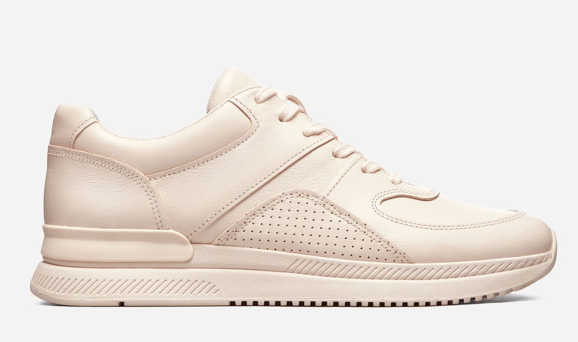 blush chunky leather sneakers