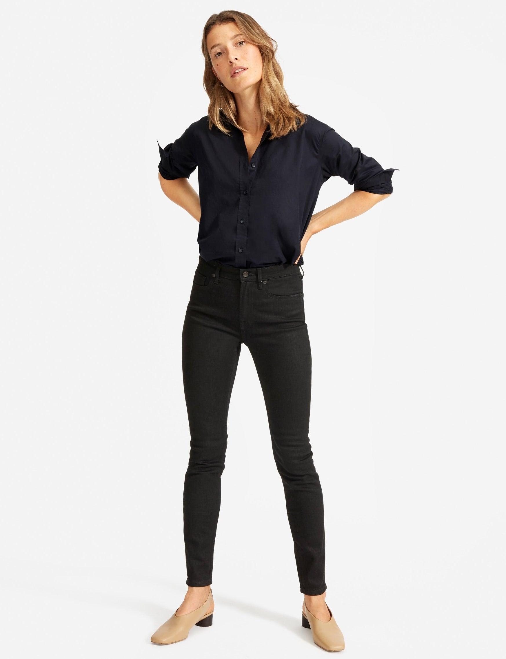 model in black skinny jeans