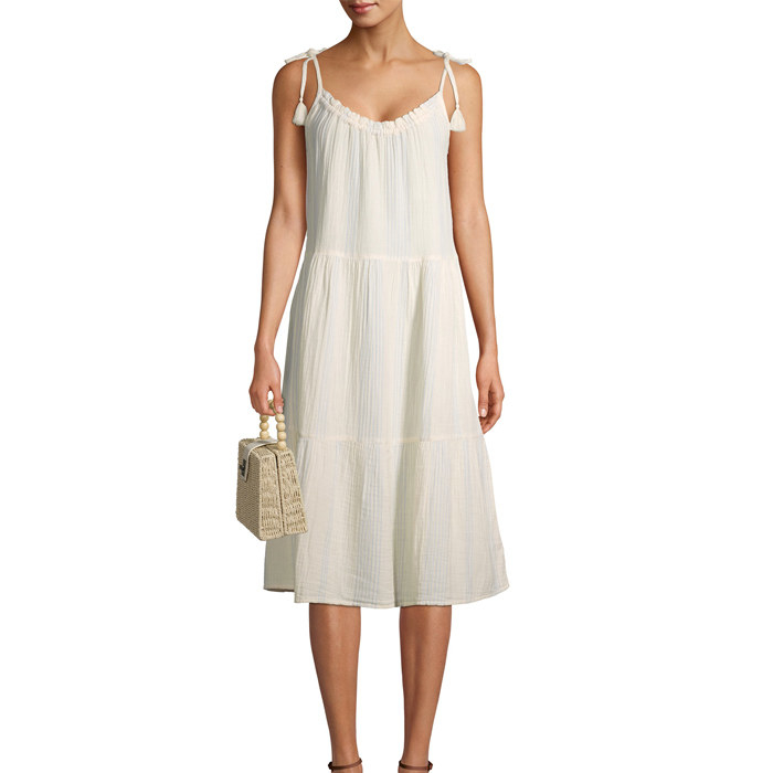 the tiered midi dress in off white