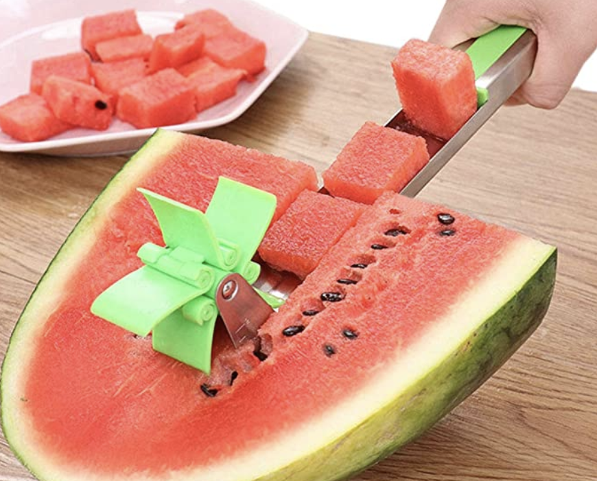 A model using the rotating tool to cut squares out of a watermelon