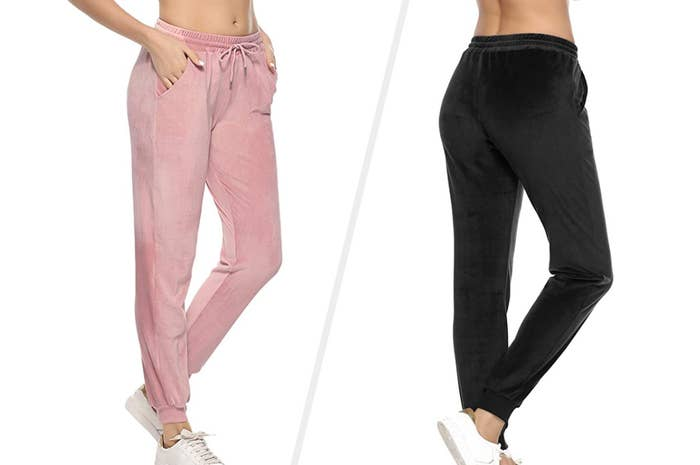 to the left: pink velour pants with pockets and a draw string, to the right: the pants in black
