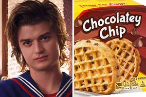 Steve is pictured looking casual, with a box of chocolate chip waffles on the right