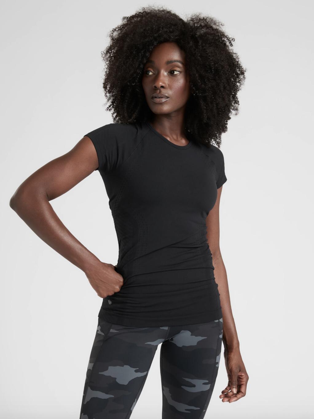 A model wearing the shirt