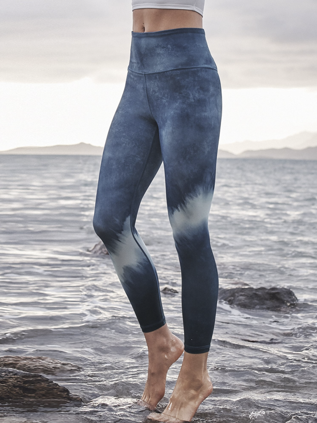 A model wearing the leggings, which come down to the ankles