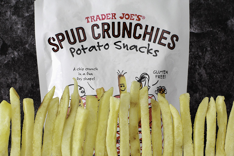 Spud crunchies potato bag. Spud crunchies have the shape of a french fry
