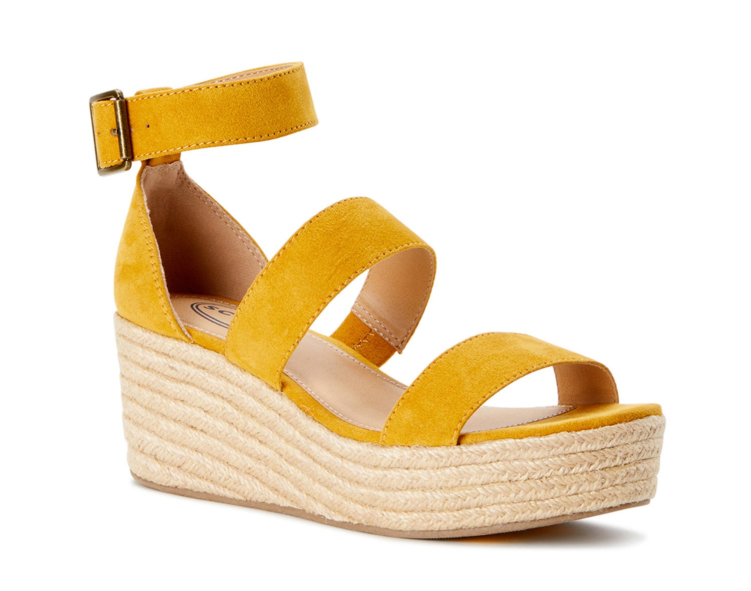 A sunflower yellow wedge sandal with a woven fabric heel and sole
