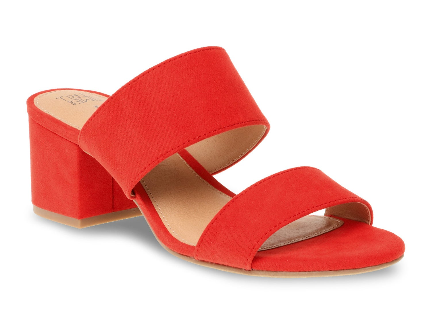 A bright red mule with block heel
