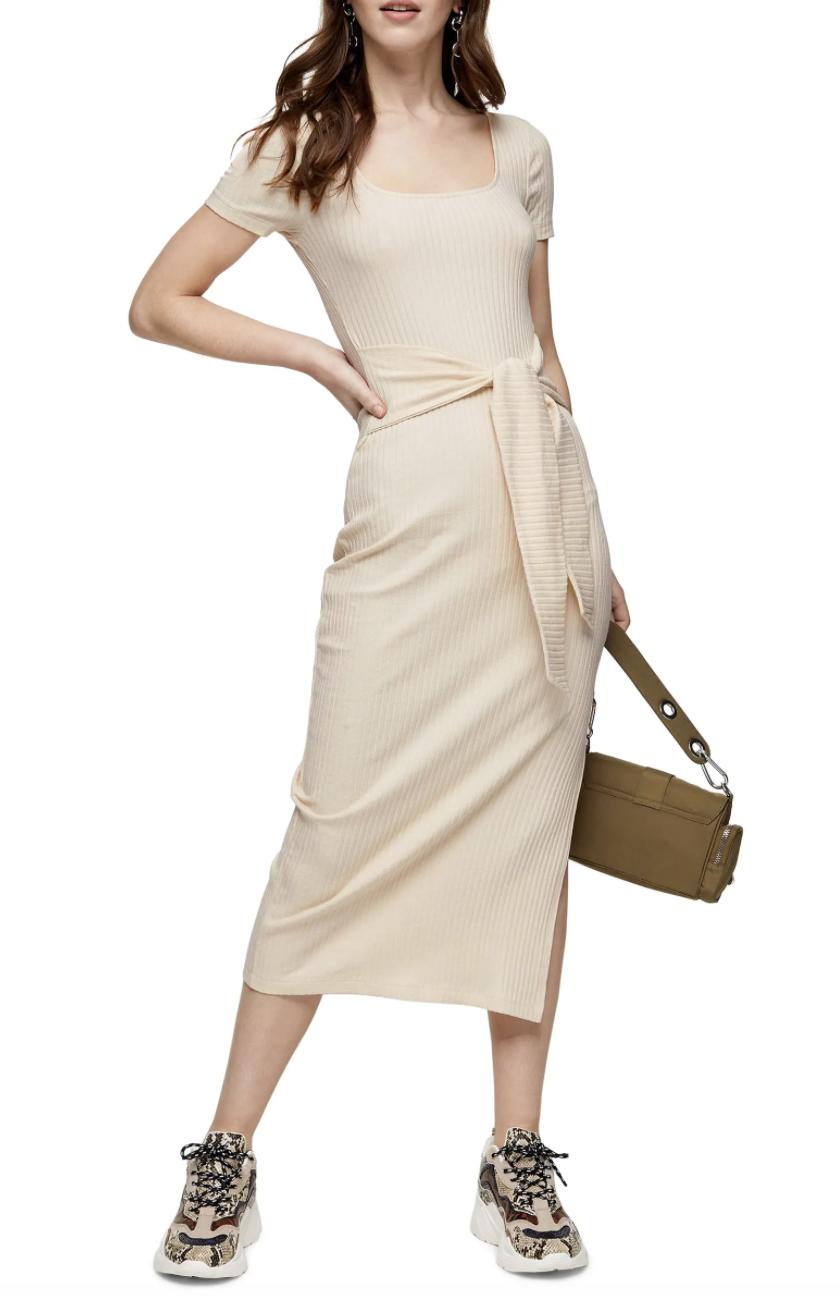 Model wearing the maxi dress in beige