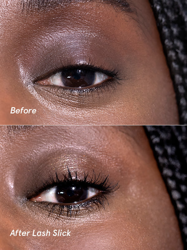 Before and after of model wearing the mascara showing it added thickness and length without looking clumpy