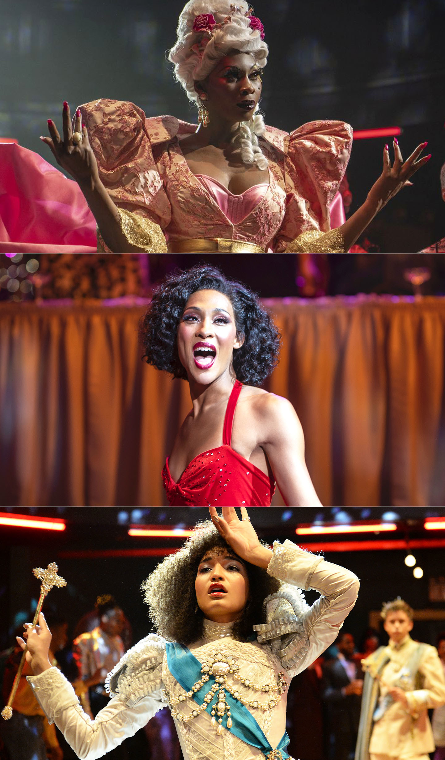 Dominique Jackson, Mj Rodriguez, and Indya Moore as Elektra Abundance, Blanca Rodriguez, and Angel in Pose