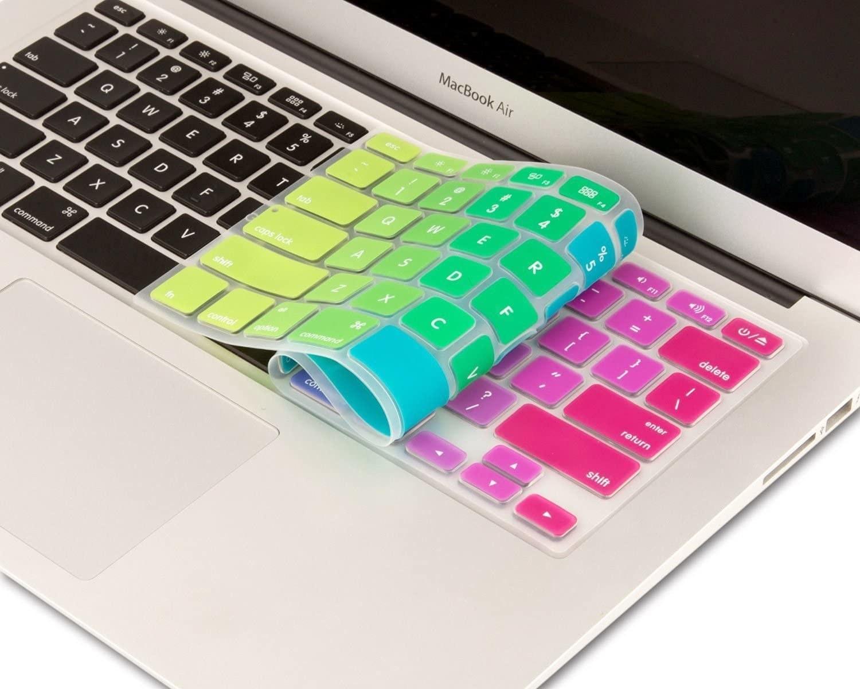 A keyboard cover over a Mac keyboard
