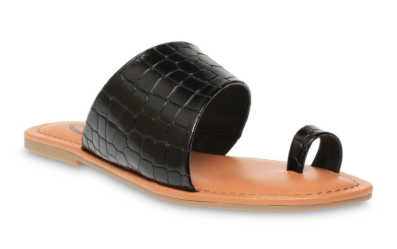 black faux snake skin sandals