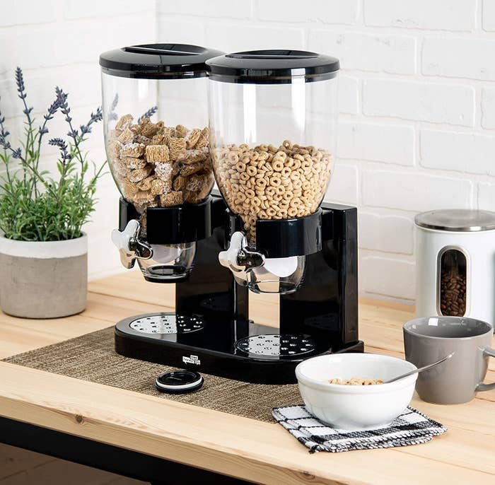 A dual cereal dispenser with two different types of cereal inside
