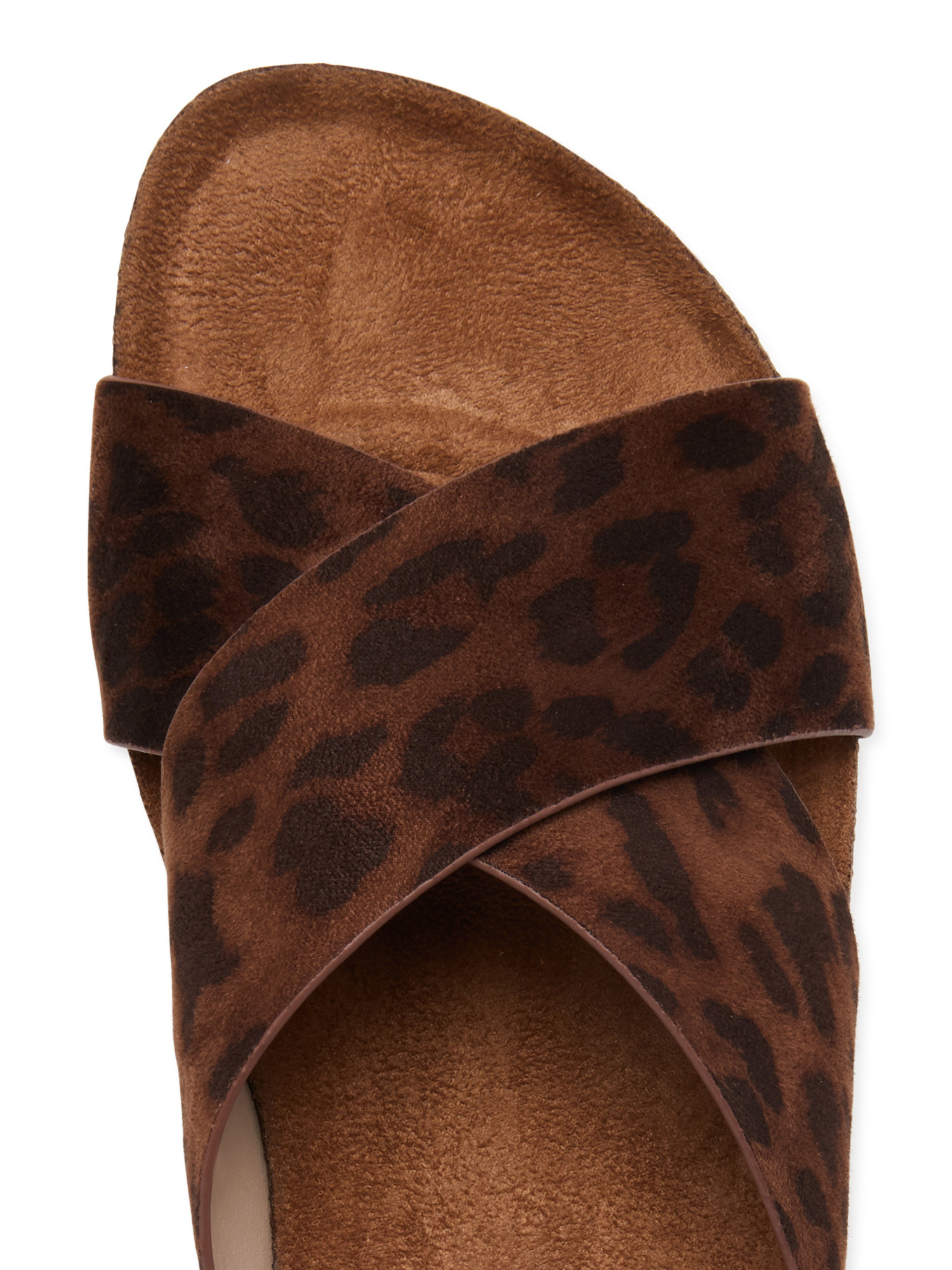 A top-down view of a leopard print sandal