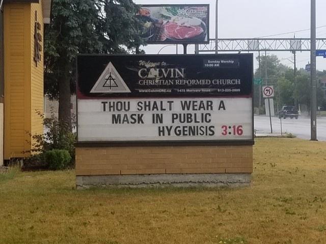 Church sign reading thou shalt wear a mask in public hygenisis 3:16