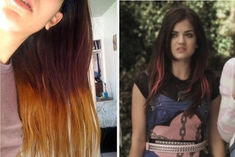 A poorly done ombré hair dye attempt next to Aria from