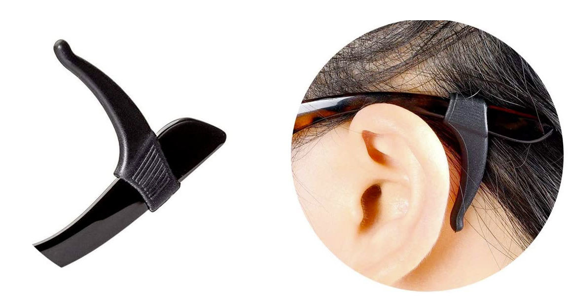 A closeup of the eyeglass sleeve on a pair of eyeglasses, keeping it hooked behind the ear