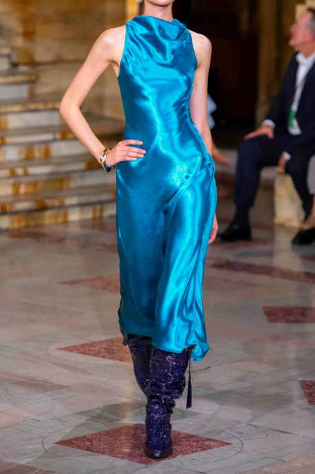 A model wearing the Sies Marjan Andy draped hammered-satin midi down the runway.