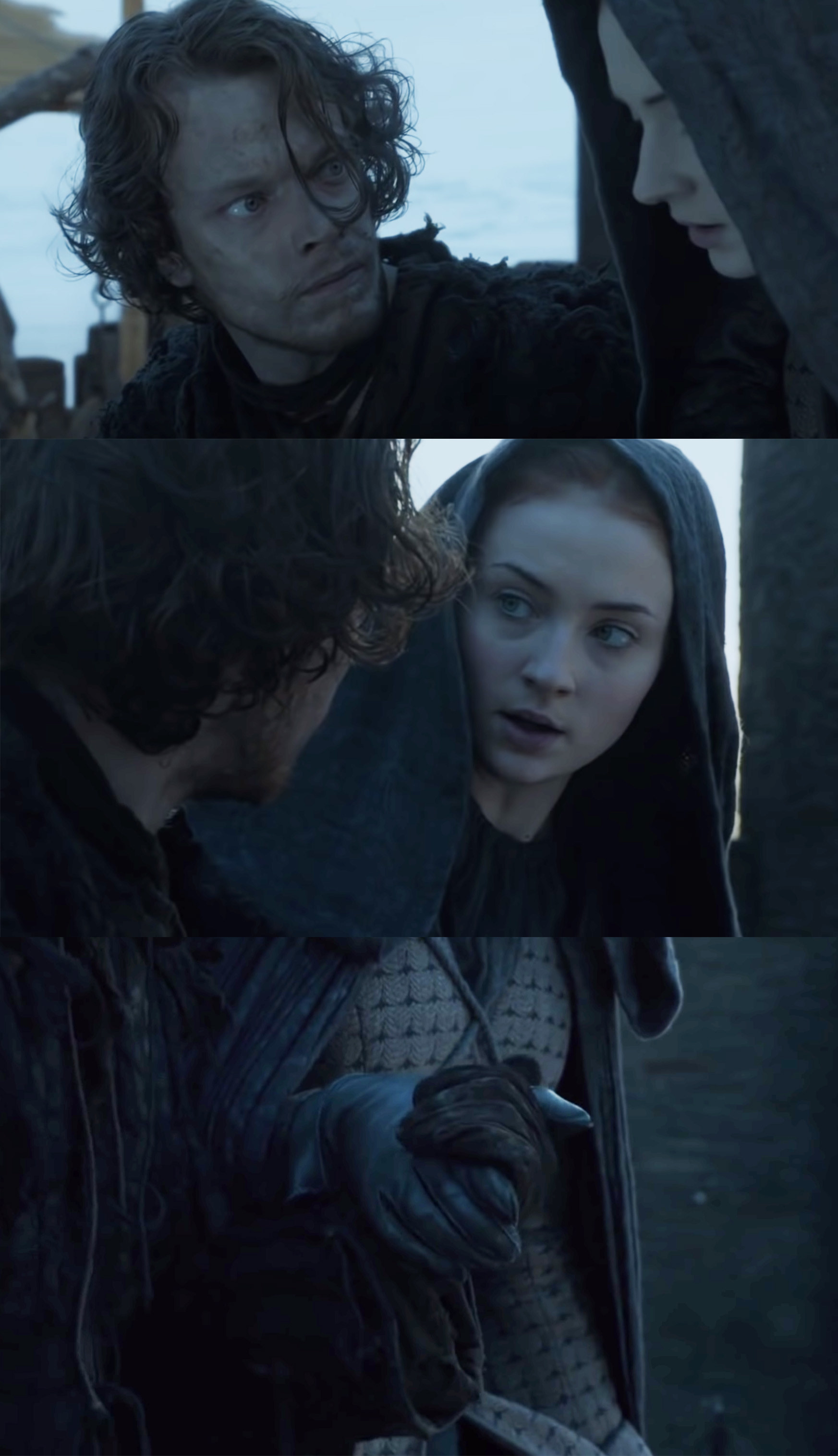 Theon taking Sansa's hand as they getting ready to jump off the side of the castle together.