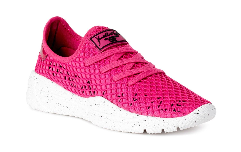 a pink knit sneaker