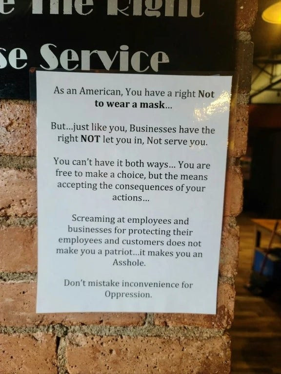 Sign about not mistaking inconvenience for oppression