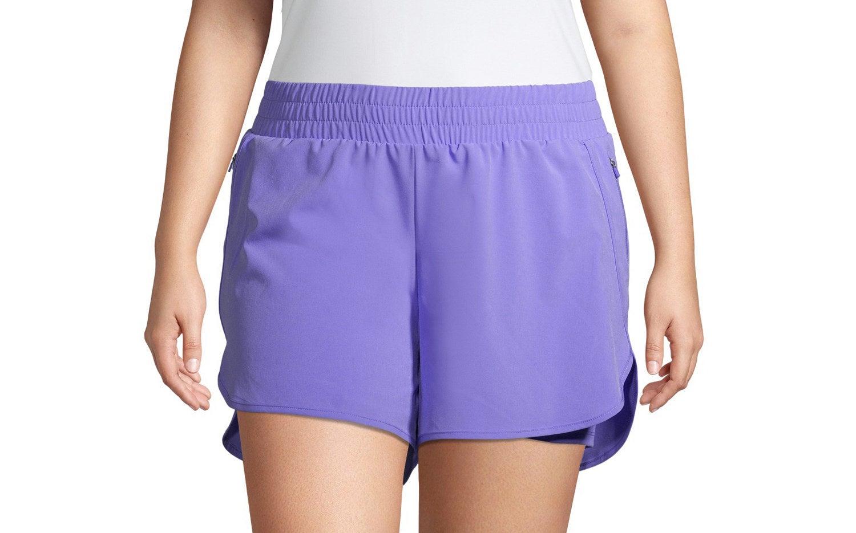 running shorts in purple