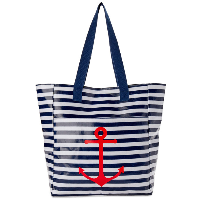 a blue and white horizontal striped tote bag with a red anchor on the front
