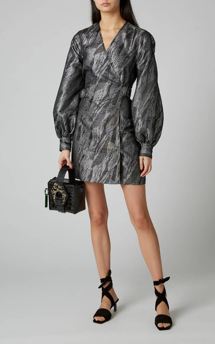A model wearing the Ganni Metallic Jacquard Mini Dress