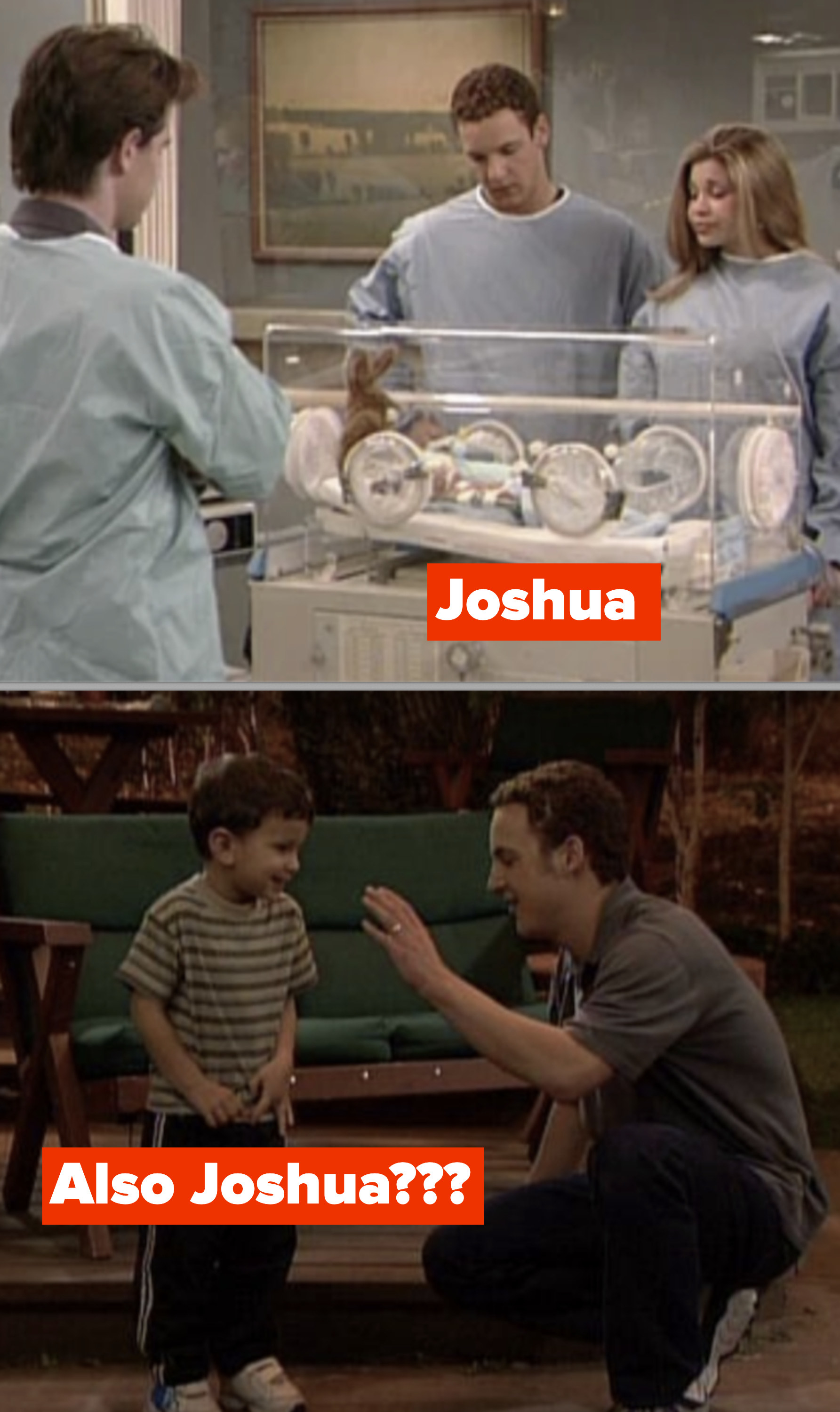 Side-by-sides of Joshua as a baby in the ICU and Joshua as a much older kid
