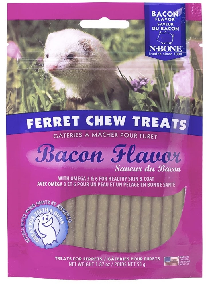 Purple and blue packaging containing brown ferret stick treats