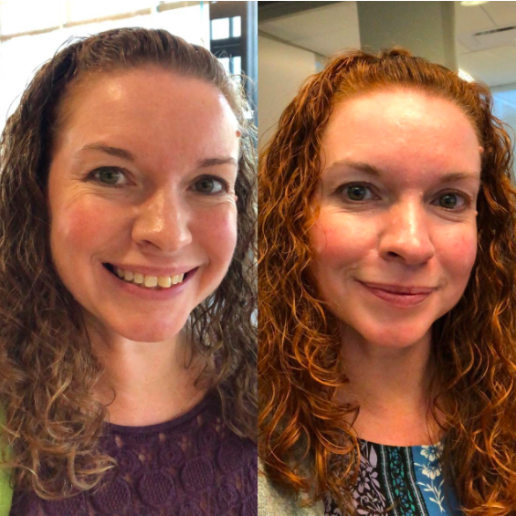A reviewer showing the before and after of using the product with their hair looking more naturally red in the second image