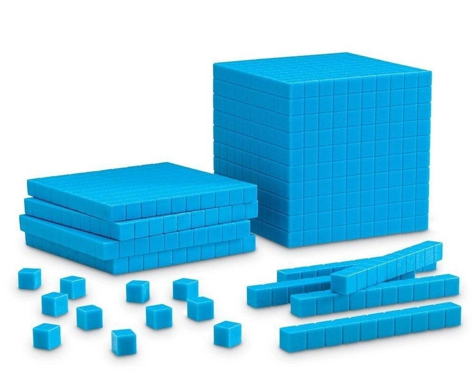 A photo of blue Base Ten Blocks.