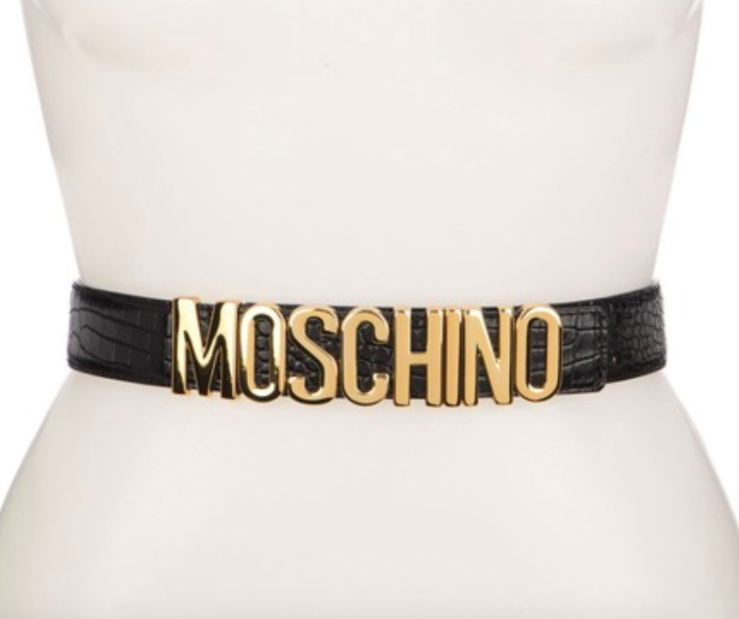 The Moschino wide leather logo belt.