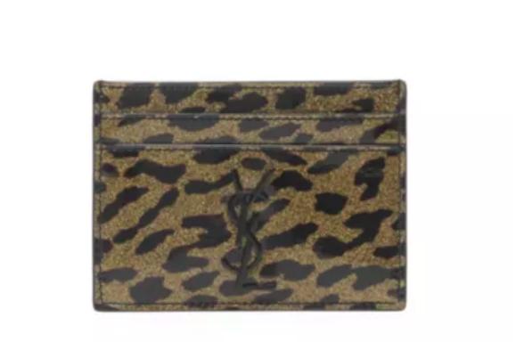 The monogrammed Saint Laurent leopard-print patent leather card case.