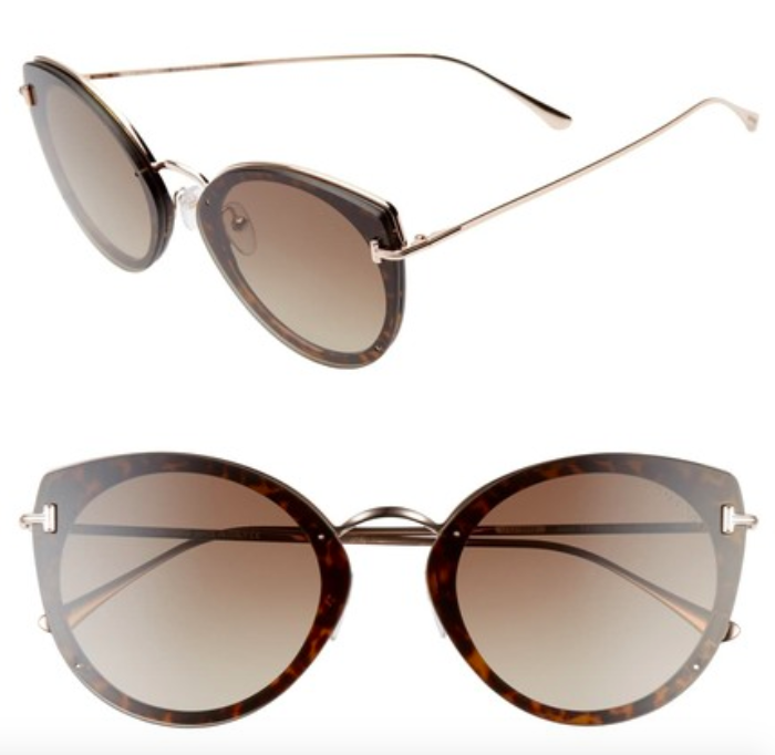A front and side view of the Tom Ford Cat Eye Sunglasses.