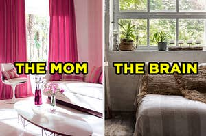 """On the left, a modern living room with a window, coffee table, and a couch and chair with """"the mom"""" typed on top, and on the right, a small bedroom with a bed near a window with plants on the windowsill with """"the brain"""" typed on top"""